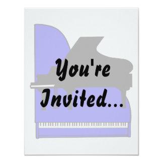 Piano Black Sillouette Blue Top View 11 Cm X 14 Cm Invitation Card