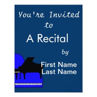 Piano Black Sillouette Blue Top View Invites