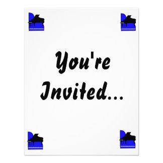 Piano Black Sillouette Blue Top View Custom Invites