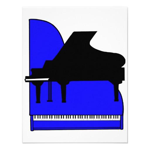Piano Black Sillouette Blue Top View Invite