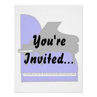 Piano Black Sillouette Blue Top View Custom Invitation