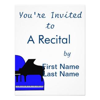 Piano Black Sillouette Blue Top View Personalized Announcements