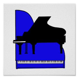 Piano Black Sillouette Blue Top View Posters