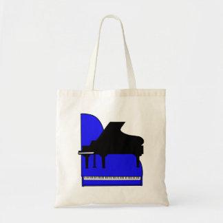 Piano Black Sillouette Blue Top View Tote Bag