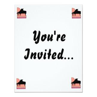 Piano Black Sillouette Pink Top View 11 Cm X 14 Cm Invitation Card