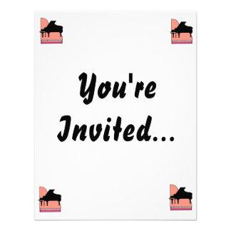 Piano Black Sillouette Pink Top View Invite