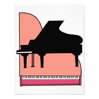 Piano Black Sillouette Pink Top View Personalized Invites