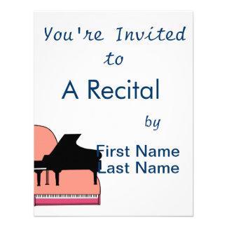 Piano Black Sillouette Pink Top View Custom Invite