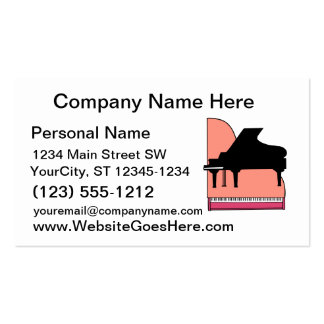 Piano Black Sillouette Pink Top View Pack Of Standard Business Cards