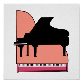 Piano Black Sillouette Pink Top View Poster