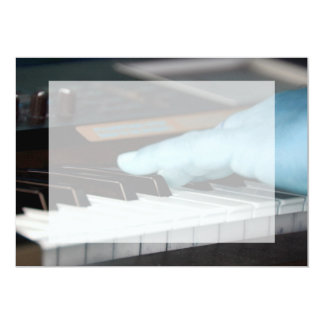 piano blue electric left hand playing keys music d 13 cm x 18 cm invitation card