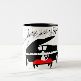 Piano cat Two-Tone coffee mug
