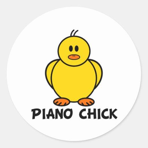 Piano Chick Classic Round Sticker