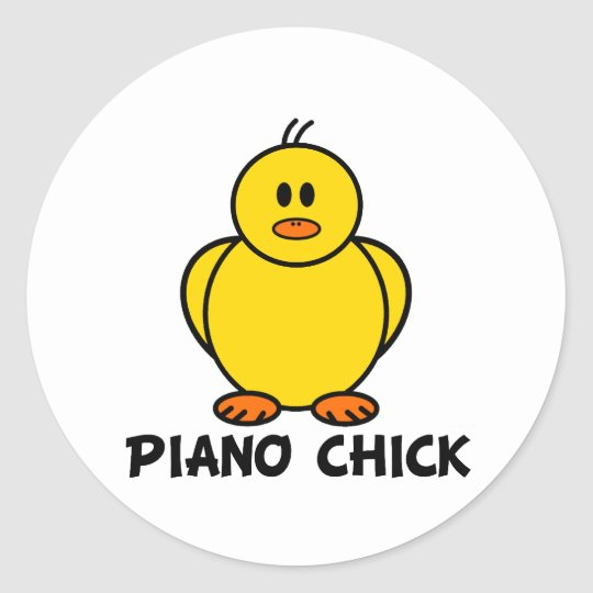 Piano Chick Round Sticker