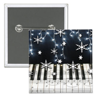 Piano Christmas Snowflake Keyboard 15 Cm Square Badge