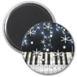 Piano Christmas Snowflake Keyboard 6 Cm Round Magnet