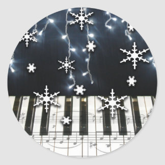Piano Christmas Snowflake Keyboard Classic Round Sticker