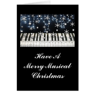 Piano Christmas Snowflake Keyboard Greeting Card