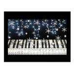 Piano Christmas Snowflake Keyboard Postcard