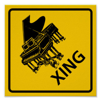 Piano Crossing Highway Sign Poster