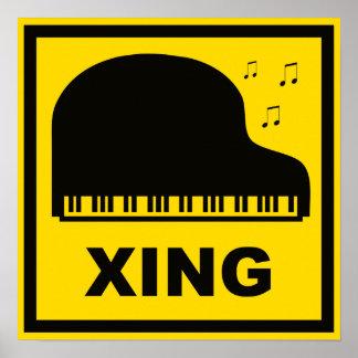 Piano Crossing Xing Traffic Sign