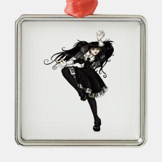 Piano Dance Silver-Colored Square Decoration