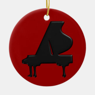 Piano Double-Sided Ceramic Round Christmas Ornament