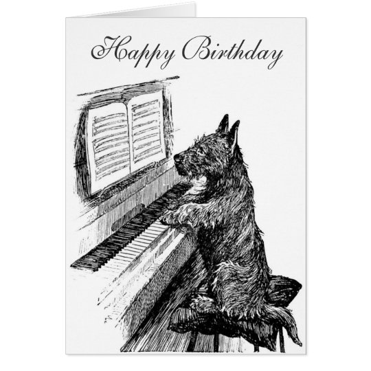 Piano Dog Birthday Card