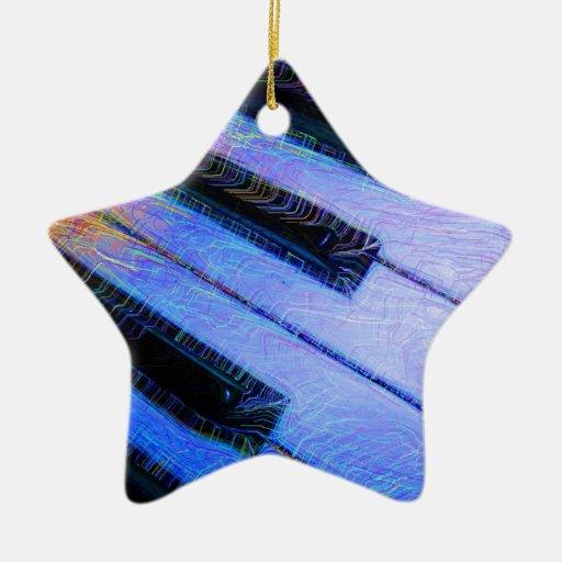 Piano Electric Blue Ornaments