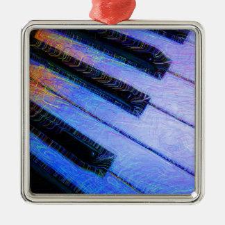 Piano Electric Blue Silver-Colored Square Decoration