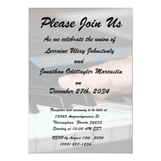 piano electric left hand playing keys music design 13 cm x 18 cm invitation card