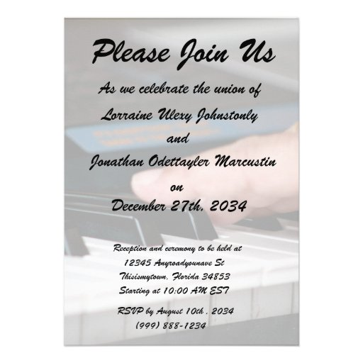 piano electric left hand playing keys music design personalized invitation