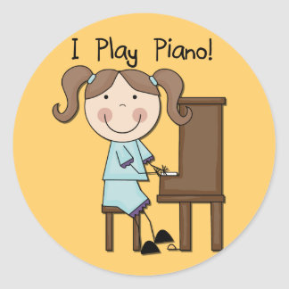 Piano - Female Tshirts and Gifts Classic Round Sticker