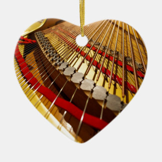 Piano from Bass Strings Ceramic Heart Decoration