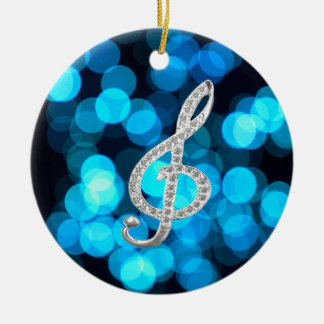 Piano Gclef  symbol Double-Sided Ceramic Round Christmas Ornament