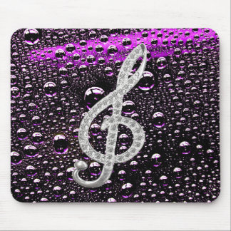 Piano Gclef Symbol with rain drop bakcground Mouse Pad
