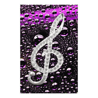 Piano Gclef Symbol with rain drop bakcground Custom Stationery