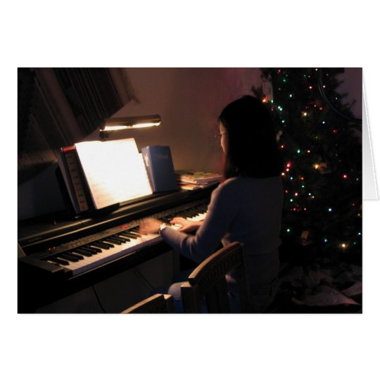 Piano Girl at Christmas Card