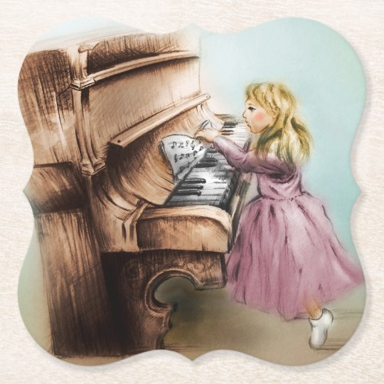 Piano Girl Shaped Coaster, Elegant Vintage Art Paper Coaster