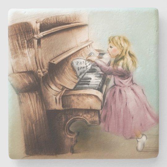Piano Girl Stone Coaster, Colourful Vintage Art Stone Coaster