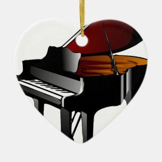 piano gloss black ceramic heart decoration