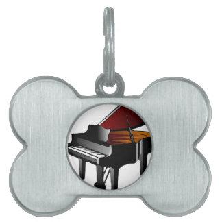 piano gloss black pet name tags