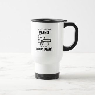 Piano Happy Place 15 Oz Stainless Steel Travel Mug