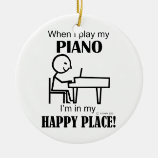 Piano Happy Place Christmas Ornament