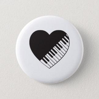 Piano Heart 6 Cm Round Badge