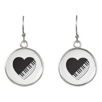 Piano Heart Drop Earrings