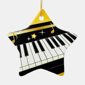 Piano in a Star Ceramic Star Decoration