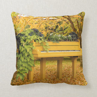 Piano in autumn woods cushion