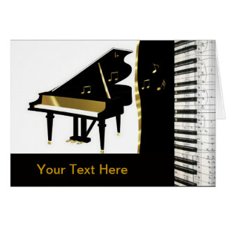 Piano Invitation Gold and Black Keyboard