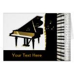 Piano Invitation Gold and Black Keyboard Greeting Card